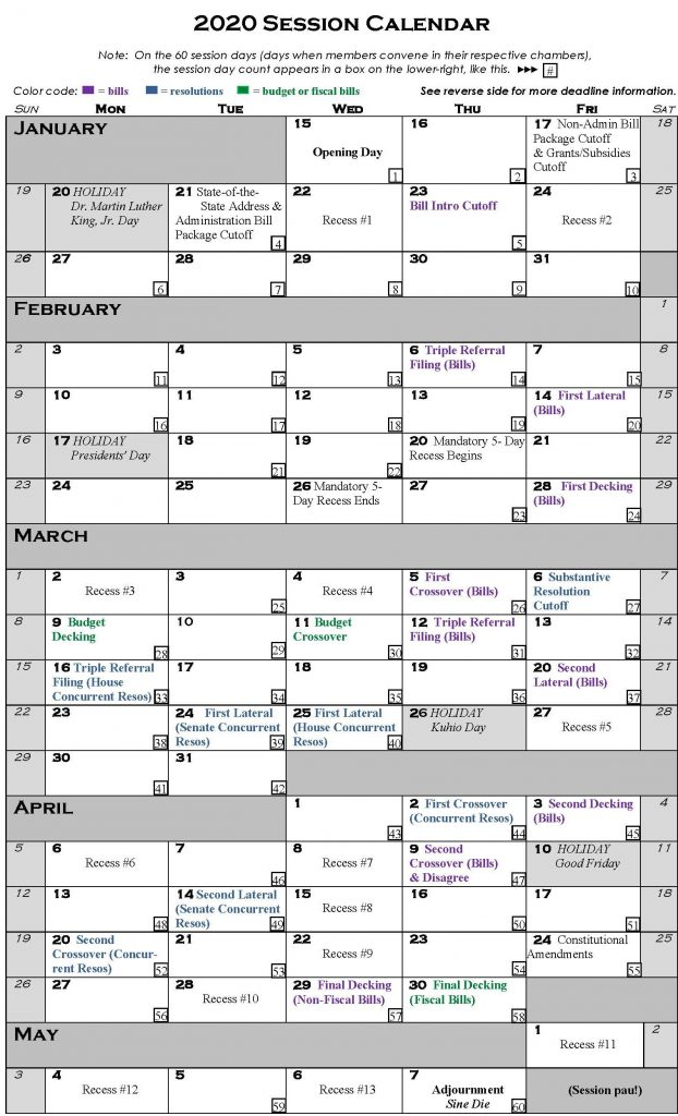 Picture of 2020 Session Calendar