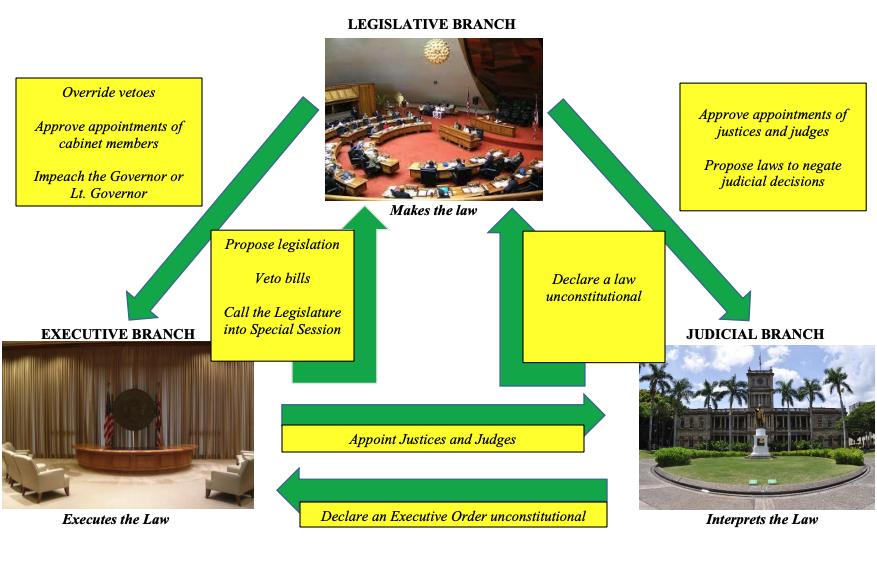 Flowcart representing the system of checks and balances in the State of Hawaii