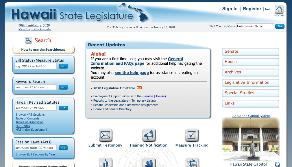 legislature website screenshot