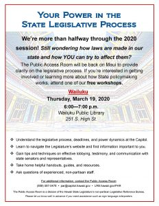 "Flyer for ""Your Power in the State Legislative Process"""