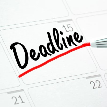 "Drawing of calendar page with ""deadline"" being written on it"