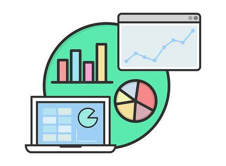 cartoon of charts and graphs