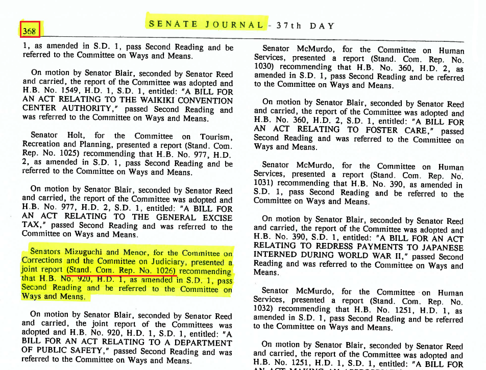 Page from Senate Journal with a Standing Committee Report highlighted.