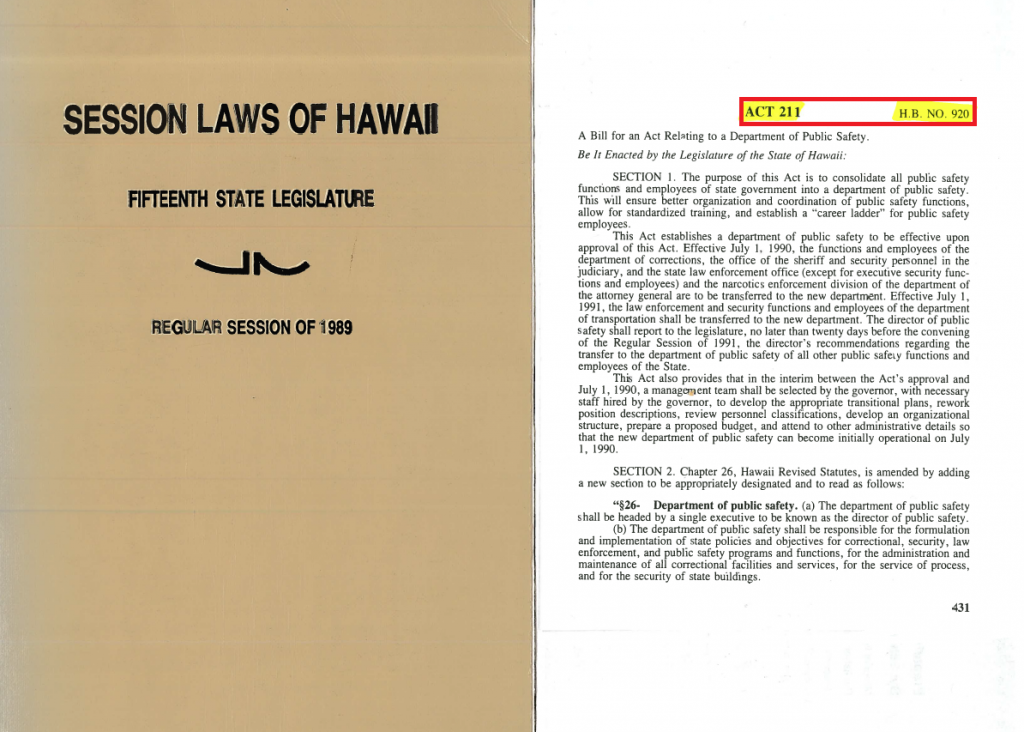 Cover of the Session Laws of Hawaii along with an Act with the act number and bill number highlighted.